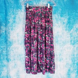 VTG 80s Bright Pink Floral Plaid Maxi Skirt